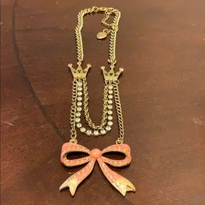 Multi layer pink bow Betsey Johnson Necklace